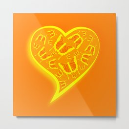 Glowing yellow and orange butterflies in a heart Metal Print