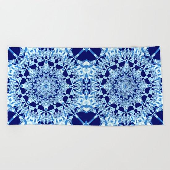 Blue toned cubism in a kaleidoscope Beach Towel