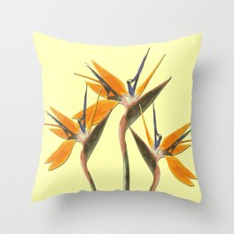 Three Paradise Flowers Strelitzia yellow R Throw Pillow