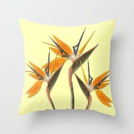 Three Paradise Flowers Strelitzia yellow R Throw Pillow