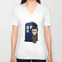 dr who V-neck T-shirts featuring Kokeshi Dr. Who by Pendientera