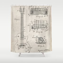 Gibson Guitar Patent - Les Paul Guitar Art - Antique Shower Curtain