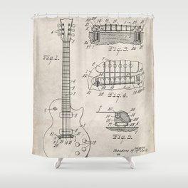 Gibson Guitar Patent - Les Paul Guitar Art - Antique Shower Curtain
