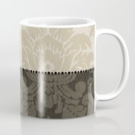 Brown and Tan Faux Linen Damask Coffee Mug