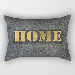 HOME black leather gold letters Rectangular Pillow