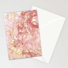 Outlined Scribbles - Pink and Gold Stationery Cards