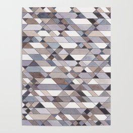 Triangle Pattern no.22 grays Poster