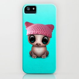 Cute Baby Pig Wearing Pussy Hat iPhone Case