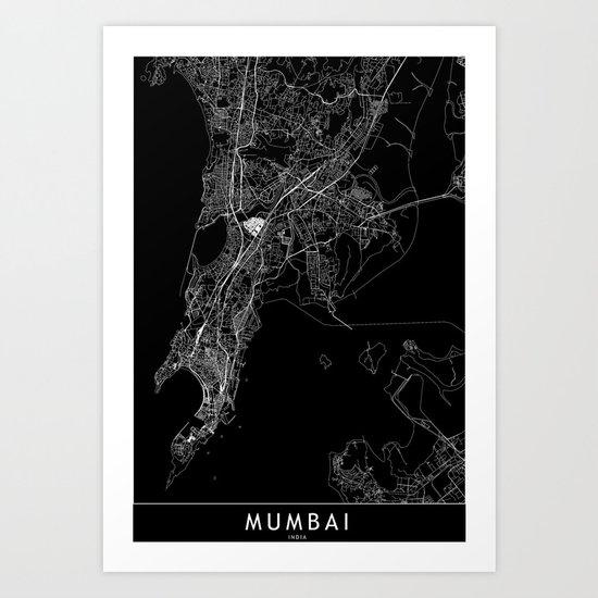 Mumbai Black Map by multiplicity