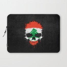 Flag of Lebanon on a Chaotic Splatter Skull Laptop Sleeve