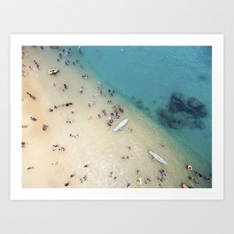 People at the beach Art Print