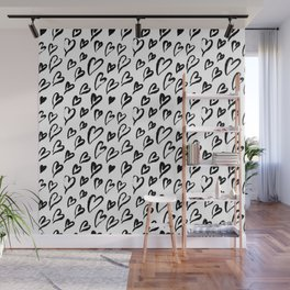 Hearts. Brush-lettered seamless pattern Wall Mural