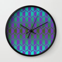 1974, violet and green Wall Clock