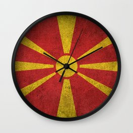 Old and Worn Distressed Vintage Flag of Macedonia Wall Clock