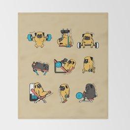 Pug Leg Day Throw Blanket