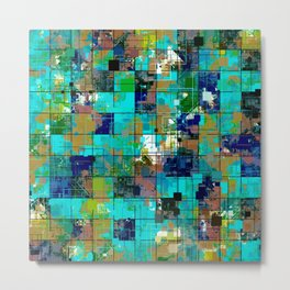 psychedelic geometric square pixel pattern abstract background in blue green brown Metal Print