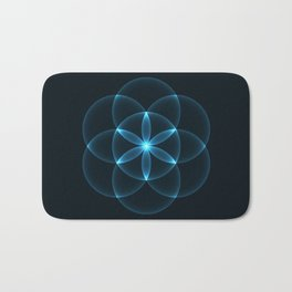 Glowing Flower of Life Bath Mat