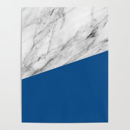 Marble and Lapis Blue Color Poster