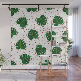 Monstera Leaves with Gold Pink and Green Geometric Confetti Wall Mural