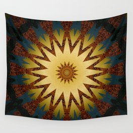 Brushed Gold Burgundy Blue Star Mandala Wall Tapestry