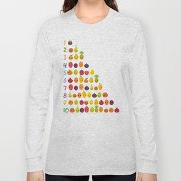 numbers for preschool kindergarten kids kawaii fruit from one to ten Long Sleeve T-shirt