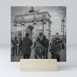 Cyclists, Le Louvre, Paris Mini Art Print