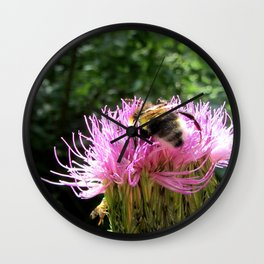 A bumblebee in search of nectar Wall Clock