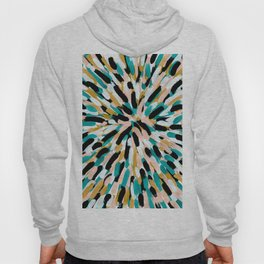 Teal, Pink, and Gold Paint Burst Hoody