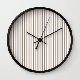 Mattress Ticking Narrow Striped Pattern in Chocolate Brown and White Wall Clock