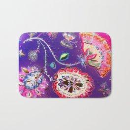 Purple Pink Butterfly Floral Garden Bath Mat