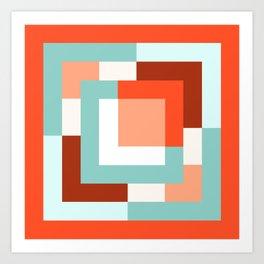 Squares Poppy + Mint Art Print