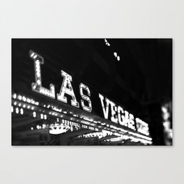 Vintage Las Vegas Sign - Black and White Photography Canvas Print