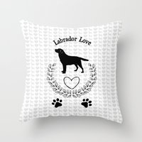 labrador Throw Pillows featuring Labrador Love by naturessol