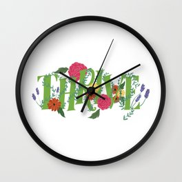 Floral Word Thrive in Midcentury Lettering Wall Clock