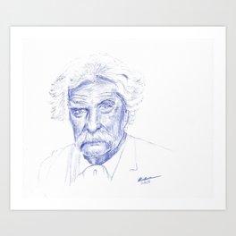 Mark Twain Portrait in Blue Bic Ink Art Print