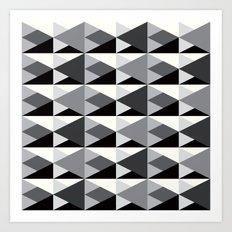 Geometric Pattern #146 (gray triangles) Art Print
