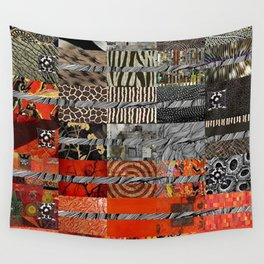 Black Red & Grey Abstract Art Collage Wall Tapestry