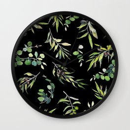 Eucalyptus and Olive Pattern  Wall Clock