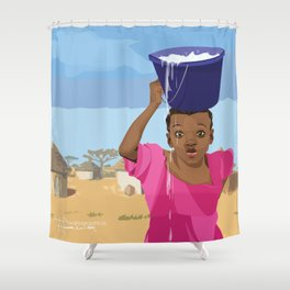 African Village Girl Shower Curtain