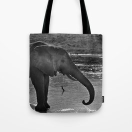 Elephant At A Waterhole Tote Bag