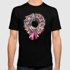 Watercolor floral wreath Black SMALL Mens Fitted Tee