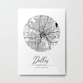 Dallas Area City Map, Dallas Circle City Maps Print, Dallas Black Water City Maps Metal Print