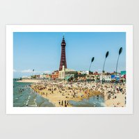 People by the beach Art Print