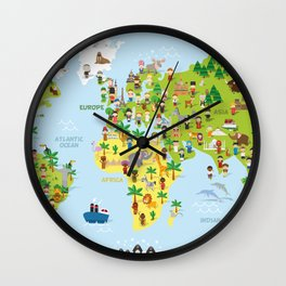 Funny cartoon world map with childrens of different nationalities, animals and monuments. Wall Clock