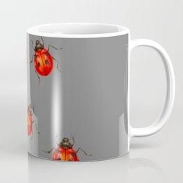 GREY ART  RED LADY BUGS  PATTERN DESIGN Coffee Mug