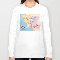 middle earth Long Sleeve T-shirts featuring Middle-Earth metro map by tuditees