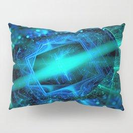 abstract green blue star fractal with bokeh Pillow Sham
