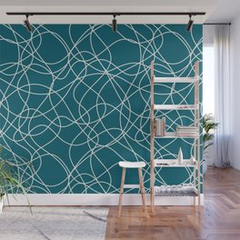 Off White Scribbled Lines Abstract Hand Drawn Mosaic on Tropical Dark Teal Inspired by Sherwin Williams 2020 Trending Color Oceanside SW6496 Wall Mural