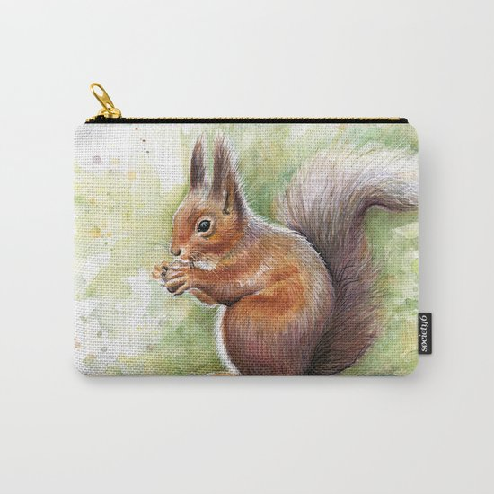Squirrel and Nut Forest Animals Watercolor Carry-All Pouch