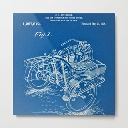 1918 C. J. Gustafson Motorcycle with Side Car Blue Patent Metal Print